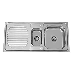 ENKI Stainless Steel 1.5 One Half Bowl Reversible Square Inset Topmount Kitchen Sink with Drainboard