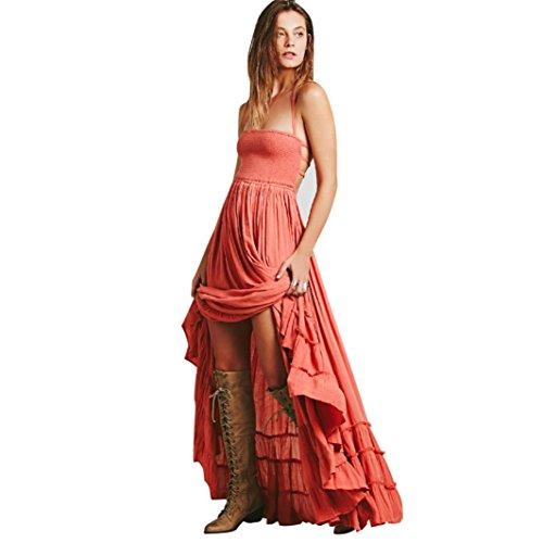 Damen Damen Sommerkleid Lang Maxi Riemchen Kleid Strand Abendgesellschaft Sommerkleid Böhmen Rückenfreies Kleid (L, Orange) ()