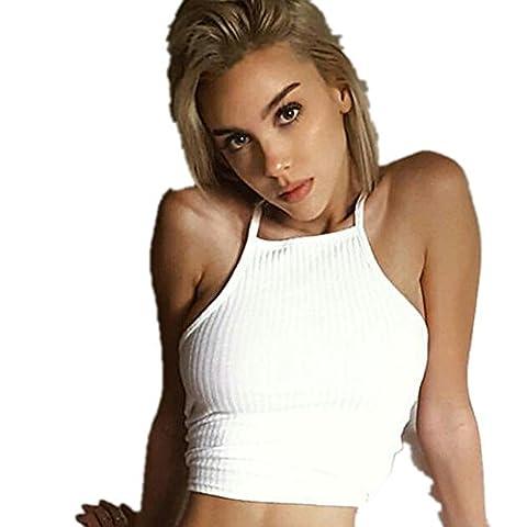 Vovotrade® Frauen Sleeveless Crop Tops Weste Backless Halter Tank Tops Bluse T-Shirt (S)