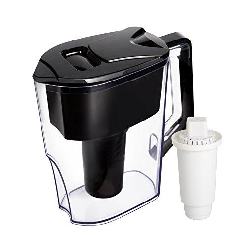iNeibo 2,5L Wasserfilter, Tischwasserfilter für alkalisches Wasser mit 7-stufigen Filtrationssystem mit Aktivkohle und Mineralbällchen zur Ionisierung des Wassers + 1 Filterkartusche. Farbe: Schwarz (Alkalisches Wasser)
