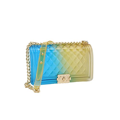2018 Sommer Weiblich Mode Einfach Lingge PVC Schulter Kette Schlinge Clutch Bag Hand Tragen Mini Tasche Leder Tasche Baby Wickeltasche Klar Jelly Tasche,EE-20*8*12cm