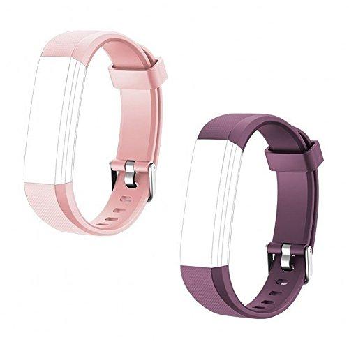 TOOBUR Ersatz-Riemen Armband für ID115U HR, 2 Stück, Rosa/Violett