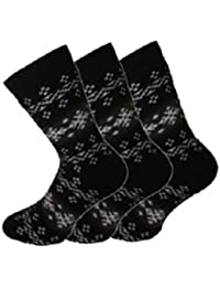 Ladies/Girls SHORT Fairisle Design Black Thermal boot shoe Socks 4-6.5 3pk