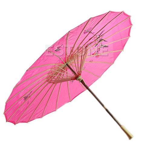 Japanischer chinesischer Regenschirm, Art-Deco, bemalt, für Hochzeiten, Tanzpartys rose pink
