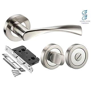 Astrid Design Modern Duo Dual Chrome Door Handle Pack for Bathrooms - Golden Grace