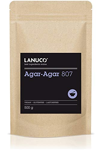 Agar Agar Pulver – 500g Premium Qualität zum Kochen und Backen, vegane pflanzliche Gelatine, glutenfrei, zum Verdicken, Kochen und Backen