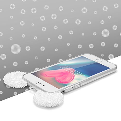 Urcover® Apple iPhone 6 / 6s Maus Ohren mit Perlen Schutz-Hülle | TPU / Silikonhülle in Weiß | Bling Ear Cover | Crystal Case | Bär Glitzer Girl Diamant Strass Schale Weiß