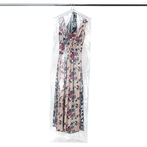 HANGERWORLD 12 Starke Folien Kleider-Schutzhüllen 182x51x10cm Transparent 0,0625mm Folienstärke