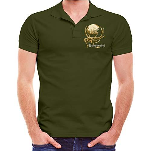 Männer und Herren Polo Shirt Jäger Echte Männer jagen Ihr Essen (mit Rückendruck) Größe S - 10XL