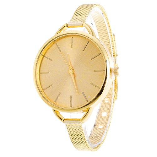 Gosear Frauen Lady Mode Quarz Handgelenk Uhr Armbanduhr mit Schlank Edelstahl Band Goldene (Damen-uhr Storage)