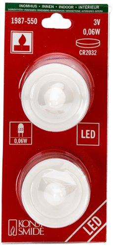 Konstsmide 1987-550 / lumini led set da 2 pz / 2 diodi rossi/a batteria sino a 105h