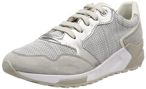 Geox D Phyteam B, Scarpe da Ginnastica Basse Donna, Grigio (White/lt Grey), 38 EU