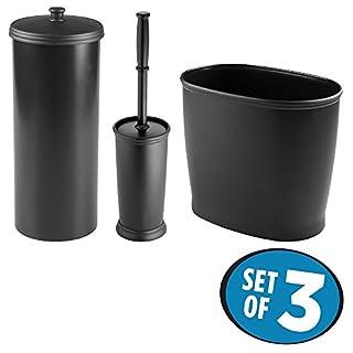 mDesign hochwertiges 3er-Set WC Garnitur – Bad-Accessoires-Set, bestehend aus Toilettenpapierhalter, Kosmetikeimer und WC-Bürste – dreiteiliges Badezimmer Zubehör Set aus Kunststoff – schwarz