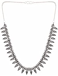 Efulgenz Trendy Silver Plated Oxidised Fancy Party Wear Statement Necklace Jewellery For Girls And Women