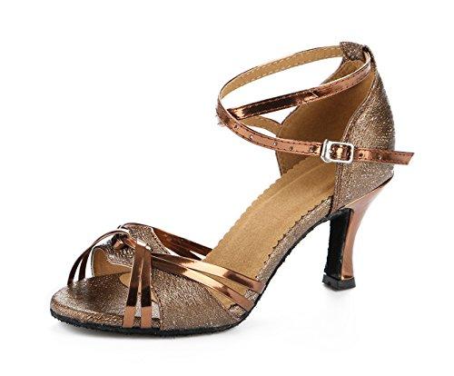 URVIP Neuheiten Frauen's Kunstleder Heels Absatzschuhe Moderne Latein-Schuhe mit Knöchelriemen Tanzschuhe LD0132 Braun 37 CN