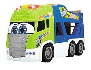 Dickie Toys 203817002 Happy Scania Car Transporter - Portabicicletas para Coche (2 Coches, asa, Puerta de Carga, Rueda Libre, luz y Sonido, 42 cm, Incluye Pilas)
