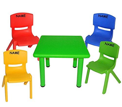 Kindertischgruppe - Tischgruppe - Tisch + 4 Kinderstühle - BUNT - incl. Name - für INNEN & AUßEN - Kindermöbel für Mädchen & Jungen - Plastik / Kunststoff - Stuhl Stühle / Kinderzimmer / Kindertisch - Kinder - Gartenmöbel - stapelbar / kippsicher / bis 100 kg belastbar
