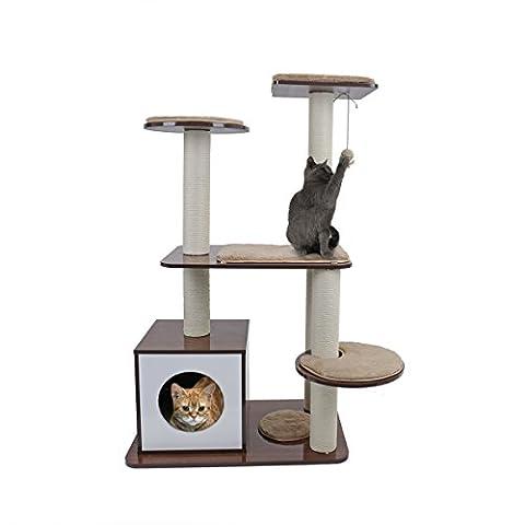 Speedy Pet Style de meuble Scratch Poster Arbre de chat avec Balle suspendue Couverture en laine pour Chatons Jouet Maison Couleur Marron