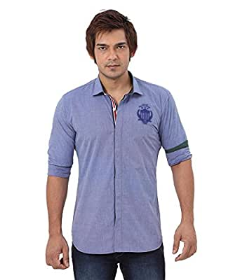 R&C Men's Slim Fit Blue Color Shirt