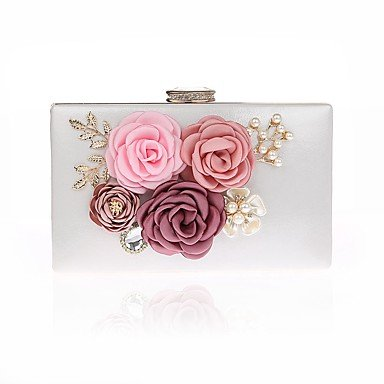 Fashion Women's cute Blumen Perle Abendessen Tasche Fuchsia