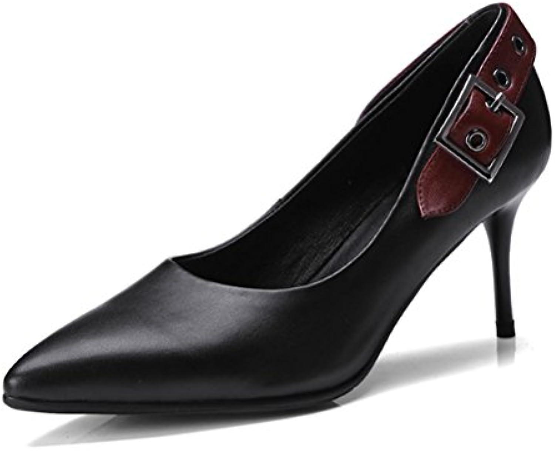 LGLFRXZ HJHYreg Echtes Leder Frauen Einzelne Schuhe Nehmen Hohen Absatz Spitzenflacher Mund MS Niedrige Schuhe Ab