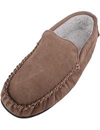 Pantofole stile mocassino da uomo in pile foderato con suola in gomma  antiscivolo fd9347ac006