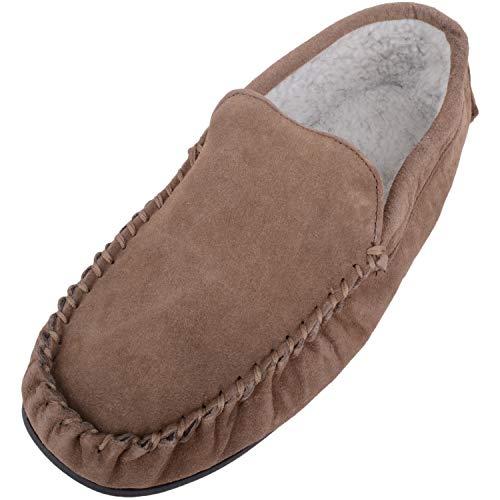 Mokassin-Slipper, Berber-Fleece-Futter, für Herren, mit rutschfester Gummisohle, Braun - taupe - Größe: 44 -