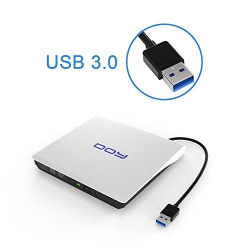 Externes DVD Laufwerk, DOY USB 3.0 DVD/CD-RW Brenner Tragbar CD Laufwerk mit USB Ports für Apple MacBook Pro, Air and iMac,Windows 2003/XP/Vista/7/8/10,Linux,PC und Laptops/Desktop- Weiß(Aufgerüstet)
