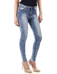 La Modeuse - Jeans délavé et usé aux chevilles Fermeture zippée avec bouton