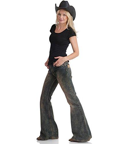 Stretch Jeans Schlaghose Dirty Look Star Rebel Dirty Blue - Blau