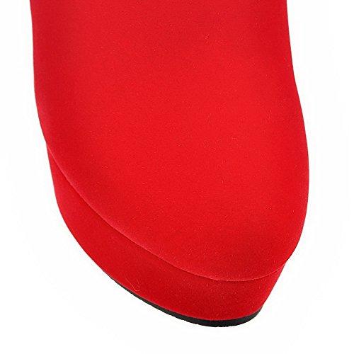 VogueZone009 Donna Cerniera Tacco Alto Pelle Di Mucca Puro Bassa Altezza Stivali Rosso