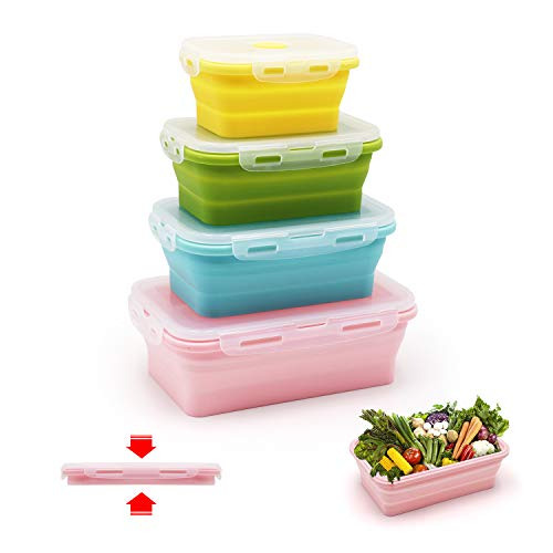 qimh 4 Pack Flat Stacks klappbar Frischhaltedosen, Silikon Faltbare Lunch Bento Box (B-4) (C-4) -