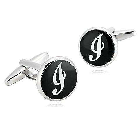 Epinki Mens Stainless Steel Black White Alphabet Letter i Classic Round Shape Cufflinks for Wedding