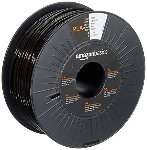 AmazonBasics 3D-Drucker-Filament aus PLA-Kunststoff, 2,85 mm, Schwarz, 1-kg-Spule