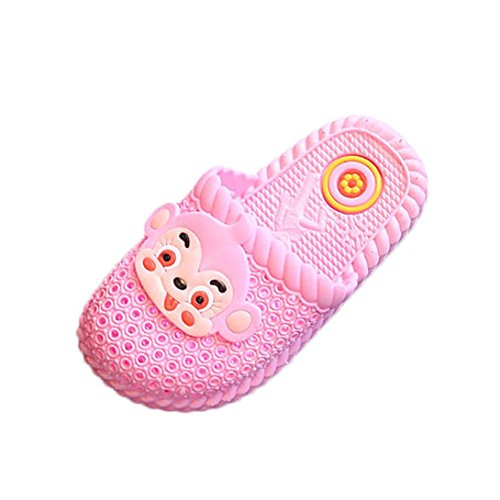 FNKDOR Baby Kinder Pantoffeln Hausschuhe Cartoon Affen Badeschuhe Slipper Sandalen(23,Rosa)