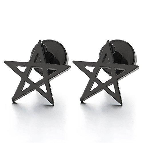 Kinder-ohrringe Schraube Wieder (10MM Schwarz Stern Pentagramm Ohrstecker, Gestüt Ohrringe Herren Damen Jungen, Ohrschmuck, Schraube Wieder, 2 Stück)