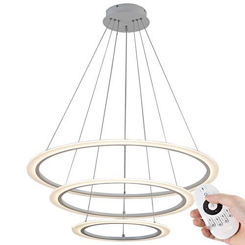 Eurotondisplay 8006-3+5+7 LED Pendelleuchte Pendellampe mit Fernbedienung Lichtfarbe/Helligkeit einstellbar Acryl-Schirm weiß lackierter Metallrahmen A+ Hängellampe
