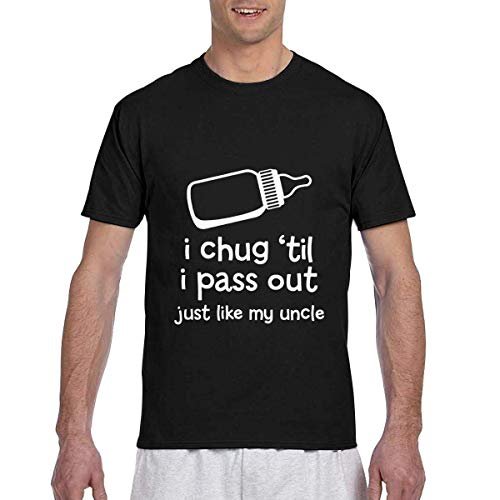 T-Shirt Men's Casual Short Sleeve I Chug 'til I Pass Out Just Like My Uncle Printed Shirts Crew Neck Tee S (Baseball Kostüm Beschriftungen)