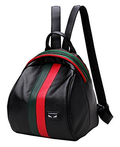 SAIERLONG Zaino Borsa Donna Pelle Vintage Casual Ragazze Travel Lusso Trekking Robusta Elegante Università Lavoro,(Nero /bianco) Rosso /verde