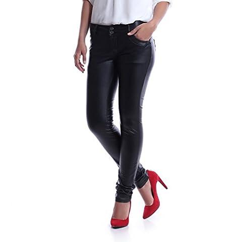 La Modeuse - Pantalon coupe slim en simili cuir