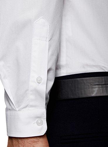oodji Ultra Homme Chemise Basique de Coupe Ajustée Blanc (1000N)