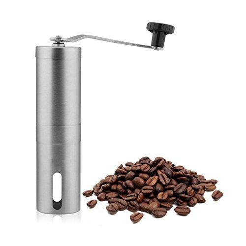Pixnor Tragbare manuelle Kaffeemühle Handkurbel verstellbar Edelstahl Kaffeemühle (Silber) (Tragbare Mühle)