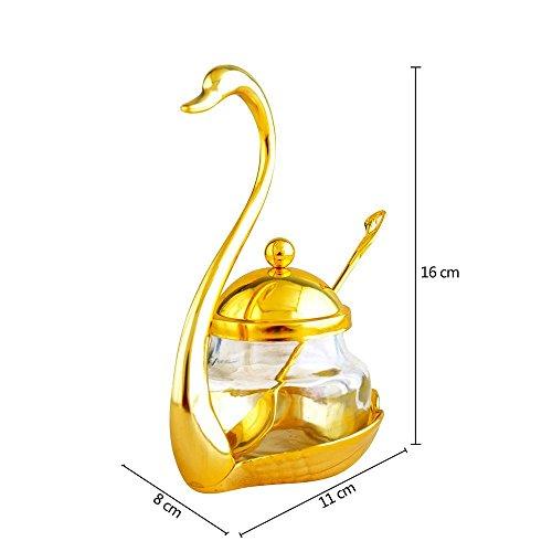V.JUST Gewürzbehälter Gewürzglas Glas Salz Zuckerdose Pfeffer Kaffee Swan Rack Condiment Topf mit Servierlöffel