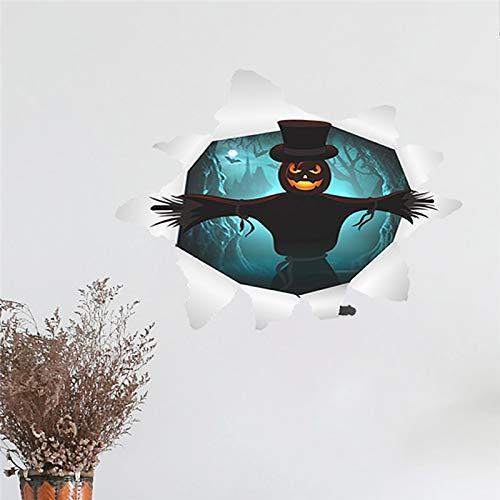 (EWQHD Halloween Thema Wandaufkleber Für Hauptdekoration Diy Hexe Geist-Schläger Grab Kürbis-Laterne 3D-Fenster-Loch-Wandkunst-Pvc-Abziehbilder, Hallowmas12)