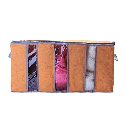 TENGGO 60X35X35cm Nicht Gewebte Kleidung Quilt Aufbewahrungstasche Staubdicht Feuchtigkeits Beweis Organizer Tasche Mit Zipper-Orange
