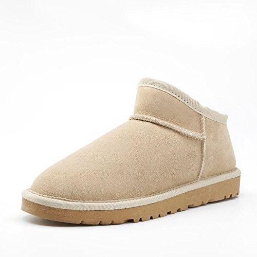 SQIAO-X- Snow Boots, l'aumento della pelliccia di pecora uno di antiscivolo con fondo piatto di spessore Cilindretto corto cacciato peddling cotone scarpe scarponi da neve Nero