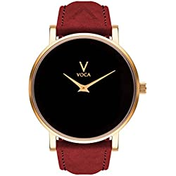 Acclaro 40mm Black and Gold with Red suede strap