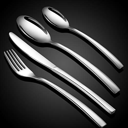 WUJO Besteckset, Besteck aus Edelstahl, 16-teiliges Silber Besteck Set inkl. Messer, Gabel, Löffel, Teelöffel Essbesteck für 4 Personen, Spiegelpoliert, Spülmaschinenfest -