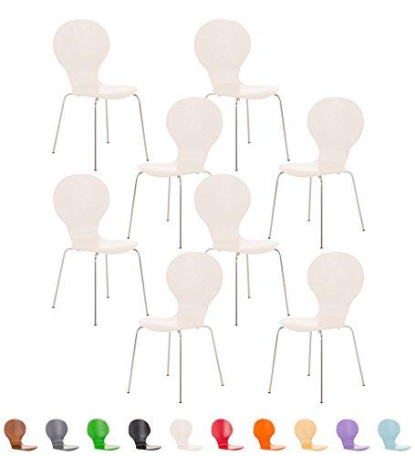CLP Set da 8 sedie robuste e impilabili DIEGO con seduta ergonomica in legno, facile da pulire, fino a 12 colori a scelta bianco