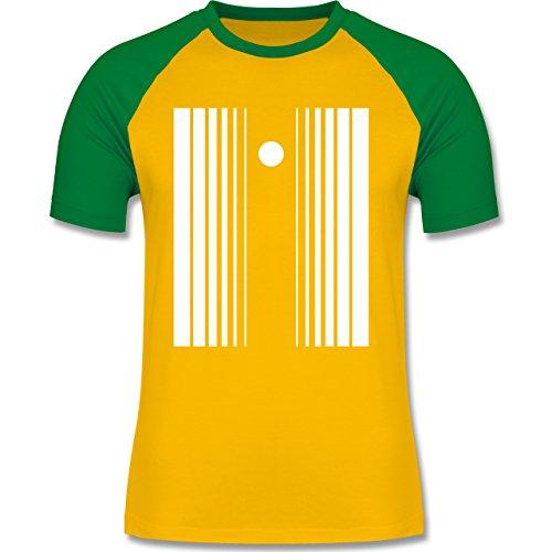 Karneval & Fasching - Doppler Effekt - M - Gelb/Grün - L140 - zweifarbiges Baseballshirt für (Kostüm Sheldon Doppler Effekt)